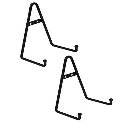 Black Metal Plate - Milltown Merchants trade; Metal Display Stand - Free Standing or Wall Mounted Decorative Plate Holder - Versatile Plate Hanger Stand - Black Metal Plate Stand (2 pack, Small)