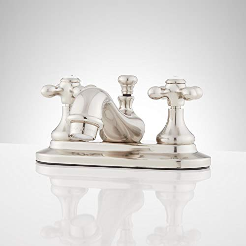 Signature Hardware 437351 Teapot 1.2 GPM Centerset Bathroom Faucet with Metal Cross Handles and Pop-up Drain Assembly