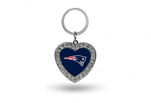 Rico NFL New England Patriots Rhinestone Heart Keychain ()