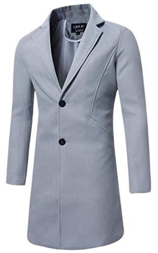 De Mélangée Vêtements Light Pour Hommes Boutons Deux Laine Kangqi Manches Longues Manteau En Grey À H7pcqZP