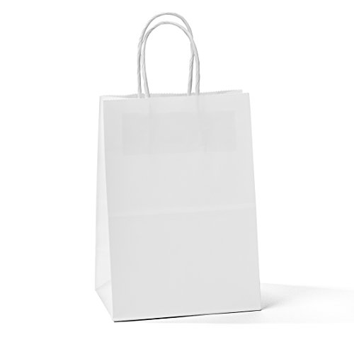 Halulu Kraft White Paper Bags - Gift Shopping Merchandise Bags - 50pc 5x3.75x8