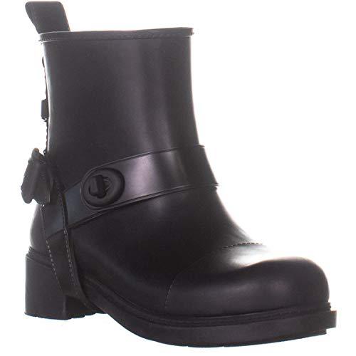 Coach Womens Moto Rain Rubber Closed Toe Ankle Rainboots, Black, Size 10.0