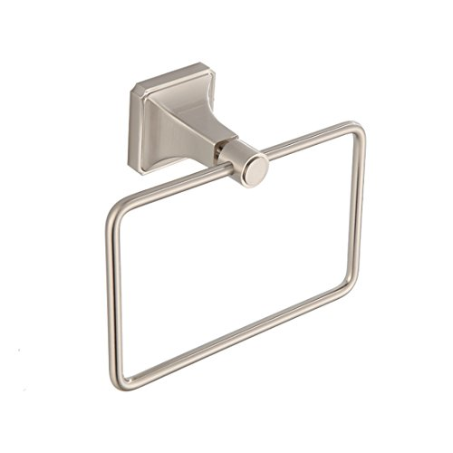 SMACK 58760BN Towel Ring for Bathroom, Contemporary Hotel Style Square Towel Ring Wall Mount, Brushed Nickel