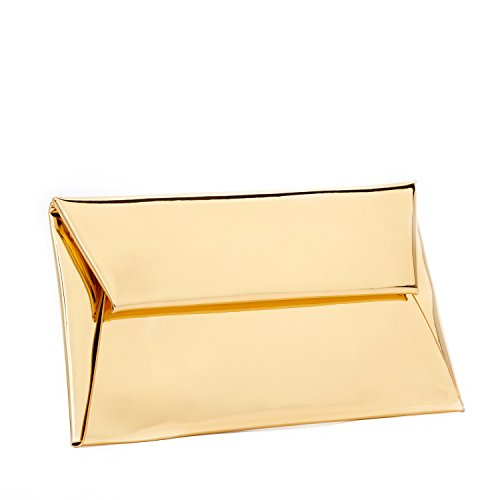 - BYSUMMER MARKFRAN Evening Purse Handbag Clutch Wedding Cocktail Party Bag Metallic Envelope Clutch (Gold)