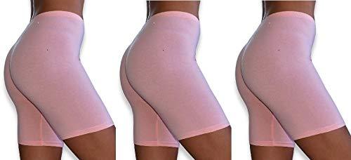 Sexy Basics Womens 3 Pack Sheer & Sexy Cotton Spandex Boyshort Yoga Bike Shorts (X-Large -8, 3 Pack -Peach)