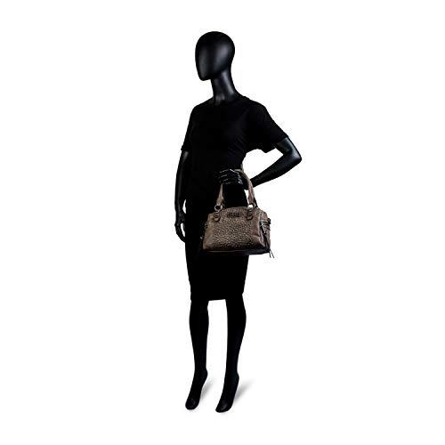 sintética ajustable asa Forro estampado bolsillo Polipiel LOIS de doble bandolera Marron Color cremallera bowling y con Bolso 94631 mujer con interior Piel y Gris qvwH0A