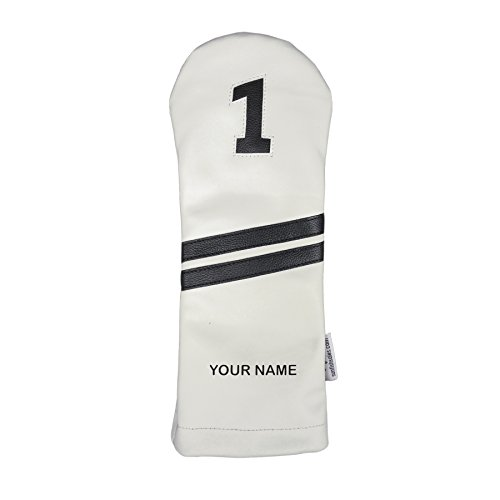 Sunfish Custom Leather Driver Headcover NAME Engraved White and - Club Golf Personalized Headcovers