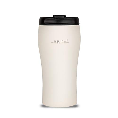 CC.KU Insulated Coffee Tumbler, 12.3oz Stainless Steel Coffee Mug with Lid Double Walled Vacuum Slim Cruiser Tumbler Metal Water Bottle (White)