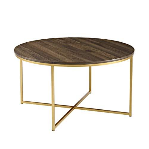 WE Furniture AZF36ALCTDWG Wood Coffee Table, Dark Walnut/Gold