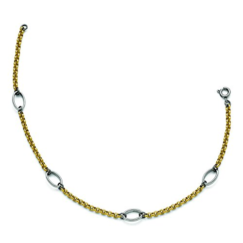 Stainless Steel 9.5in Polished Gold IP-plated Anklet