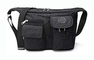 PROGLEAM Storage Bag, Men Women Casual Nylon Shoulder Handbag Travel Messenger Crossbody Tote, Black