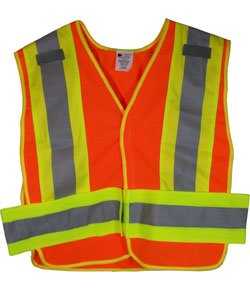 - ANSI 207-2006 Public Service Safety Vests - Mesh Orange with Lime/Silver Stripes - 5 Point Velcrow Tearaway - Standard Size