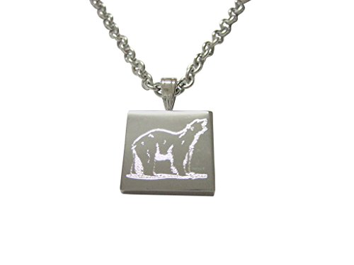 silver-toned-etched-polar-bear-pendant-necklace