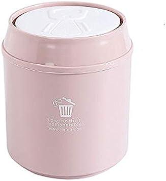 Hong Yi Fei-shop Cubetas de Basura Ronda de Escritorio Papelera Bote de Basura, plástico minúsculo pequeño Basura Oficina encimera Can Protección de la Tapa Botes de Basura (Color : Pink)
