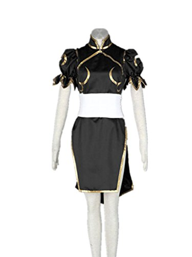 Love Capcom Anime Cosplay Costume-SF Chun Li 3Pcs Set Black ()
