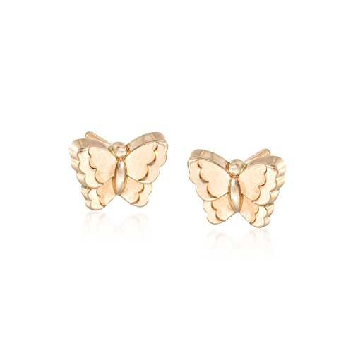 Ross-Simons Child's 14kt Yellow Gold Butterfly Earrings - Gold Childrens Butterfly Earrings