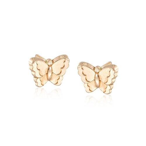 Ross-Simons Child's 14kt Yellow Gold Butterfly Earrings