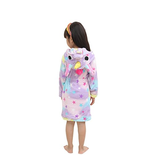 (RGTOPONE Kids Soft Bathrobe Unicorn Fleece Sleepwear Comfortable Loungewear (12-13 Years, Starry)