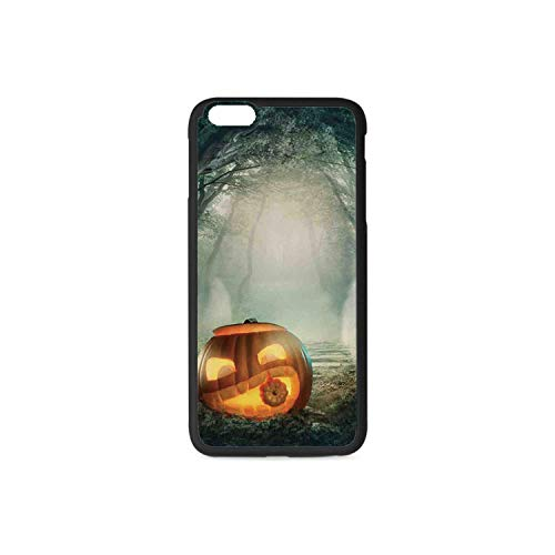 Halloween Decorations Rubber Phone Case,Scary Halloween Pumpkin Enchanted Forest Mystic Twilight Party Art Compatible with iPhone 6 / 6sPlus