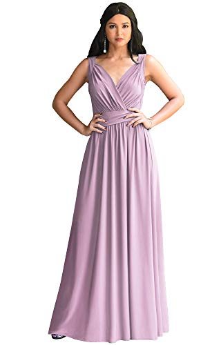 KOH KOH Plus Size Womens Long Sleeveless Flowy Bridesmaids Cocktail Party Evening Formal Sexy Summer Wedding Guest Ball Prom Gown Gowns Maxi Dress Dresses, Dusty Pink 2XL 18-20