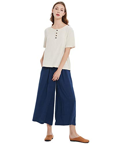 Sellse Women's Linen Cotton Casual Large Size Pants Plus Size Pant With Band Waist (3XL, Dark-Blue) from Sellse