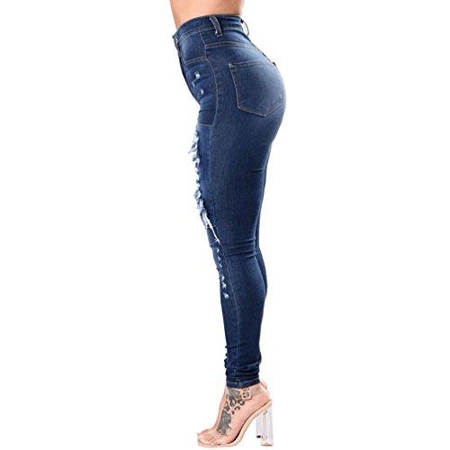 YuanDian Mujer Otoño Ocio Push up Levanta cola Rasgado Jeans Agujero Cintura  Alta Elásticos Skinny 07f2b6f5fd78