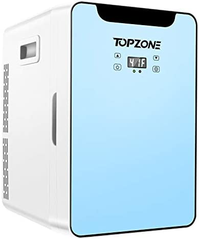 TOPZONE Mini Fridge, 20 Liter 110V AC/12V DC Compact Refrigerator with Upgraded Temperature Control Panel, Portable Thermoelectric Cooler and Warmer for Beverage, Food, Skin Care, Medications, Home and Travel (Blue)