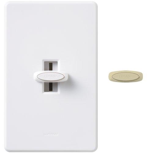 3wy Slide Dimmer - Lutron GL-603PH-DK 600-Watt Glyder 3-Way Dimmer, Dual Knob, White/Ivory