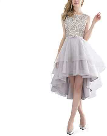 b05b2e0796 Lovely Short Prom Dress Silver Evening Beaded Cocktail Tulle Girl Formal  Party Dress