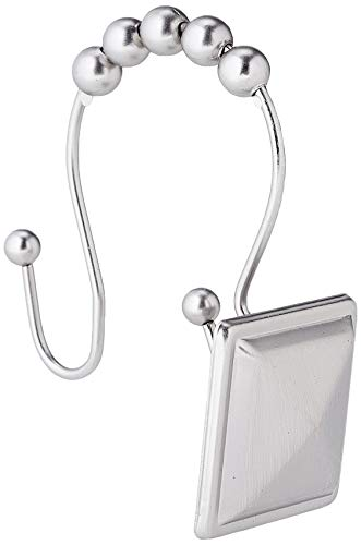 AmazonBasics Shower Curtain Hooks - Peaked Square, Nickel
