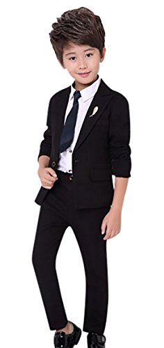 Boys Prom Suit Set 3 Pieces with Formal Blazer Pants Technical Kids Dress Tuxedo Suit Set for Wedding Black 150 by Luobobeibei