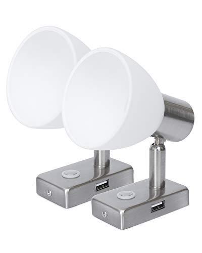 LIGHTEU, 2X 12V 3W D1 Proyector de Pared/Techo USB, Acabado en níquel, Luz de Lectura, Giro y Giro con Touch Switch Regulable Luz Blanca/Azul cálida ...
