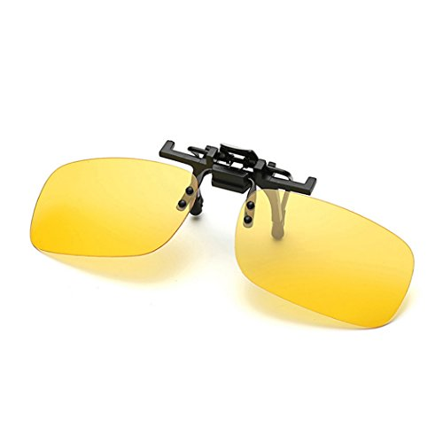 Raylans Polarized Adult Day Night Vision Flip-up Clip-on Lens Driving Glasses Sunglasses Yellow - For Night Driving Polarised Glasses