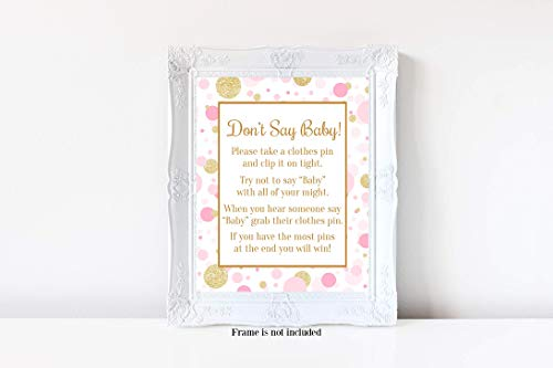 and Gold Baby Shower, Baby Shower Games, 8x10 Glossy Sign ()