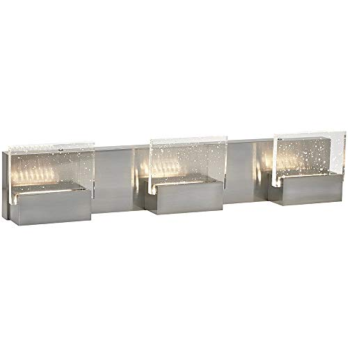 ElegantTriple Square Bubble Glass Contemporary LED Light | Brushed Chrome Vanity Bathroom Lighting Fixture