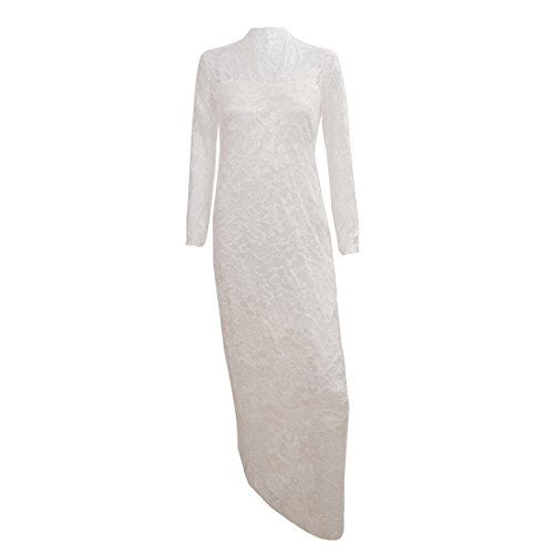 TOOGOO(R) Midi Robe florale en dentelle de col en V Robe de crayon pour femme Blanc XL