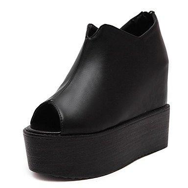LvYuan Mujer Sandalias PU Verano Cremallera Tacón Cuña Negro 10 - 12 cms Black