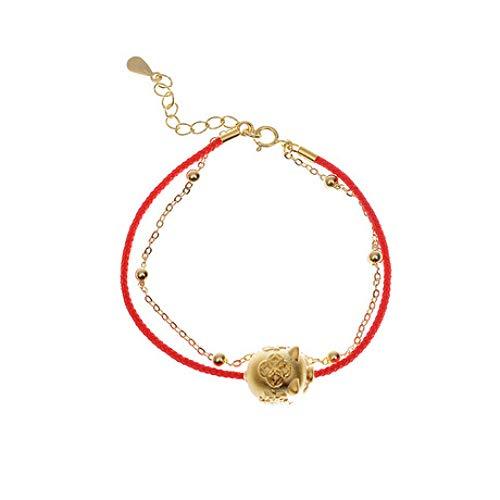 Weiduoli Bracelet S925 Sterling Silver Simple Double Layer Bracelet Unisex Piglet Bracelet Jewelry ()