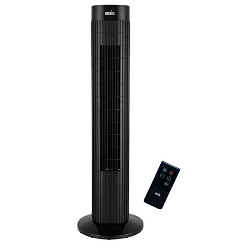 ANSIO Black Oscillating Tower Fan with Remote Control 3-Speed 3-Wind Mode, 30-Inch Ideal for Small Rooms. 2 Year Warranty