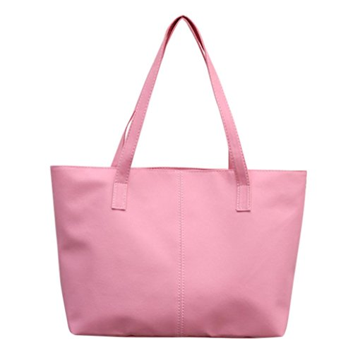 Tote Bag Leather,Clearance! AgrinTol Women Ladies Leather Shoulder Bag Celebrity Tote Purse (Pink)