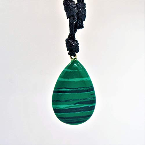 BARBARI Jewelry Malachite Healing Crystal Necklace | Handmade Gift for Him and Her+ Free Gift! High Quality Natural Rock Gemstone Pendant for Men and ()