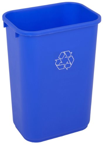 Continental 4114-1 41-1/4 Quart HDPE Recycle Trash Can, Rectangular, Blue