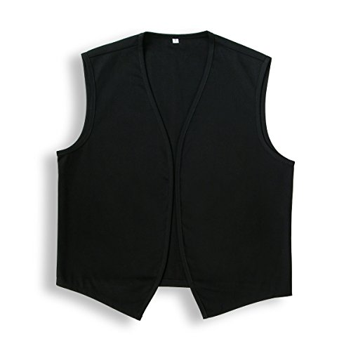 Unisex No Pocket Button Uniform Vest Halloween Costume Outfit (Small, Black) ()