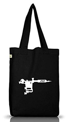 Shirtstreet24, TATTOO MACHINE/GUN, Tätowierung Tätowierer Jutebeutel Stoff Tasche Earth Positive Black