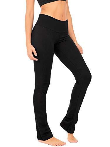 DEAR SPARKLE Bootcut Leggings for Women | Slim Look Bootleg Opaque Yoga Pants w Pocket + Plus Size (C5) (Black, Large) (Best Looks With Leggings)
