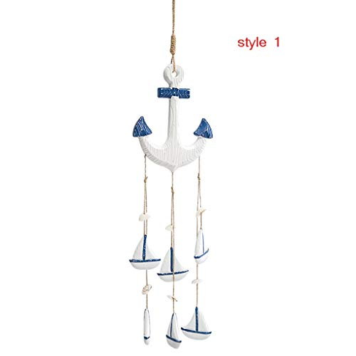 in/Outdoors Wind Chimes Mediterranean Ocean Wind Chime Pendant Home Pendant Ornaments Gifts Wooden Crafts Shells Conch Curtain Decoration Home Garden Wind Chimes (Color : White, Size : 70.517cm)