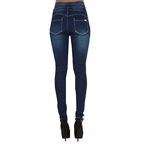 Acogedores Las Bolsillos Un Alto Blau Ropa Vaqueros Casuales Mezclilla Cintura Con Pantalones Mujeres 1 Elásticos Solo Talle De Alta Pitillo Pecho E7UHqnxv8