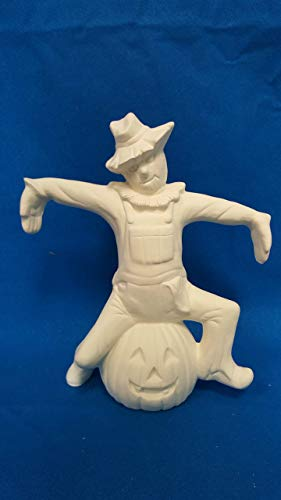 Sitting Scarecrow on Pumpkin unpainted ceramic bisque ready to be -