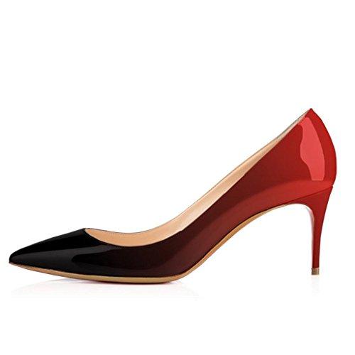 Frauen Spitze Elegant Damen Zehe Übergröße EDEFS Pumps Rot Kitten Schuhe Bequem Absätzen IxOaf8Yw