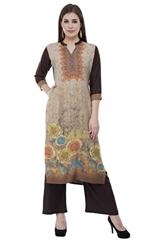 Lagi Multi Designer Women Straight Floral Printed Kurti for Women Tunic Top r 3/4 Sleeve Dress. … (XL,Brown)